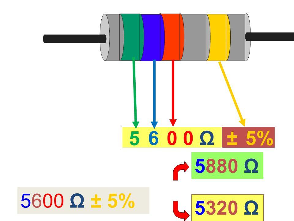 5 6 0 0 Ω ± 5% 5880 Ω 5600 Ω ± 5% 5320 Ω