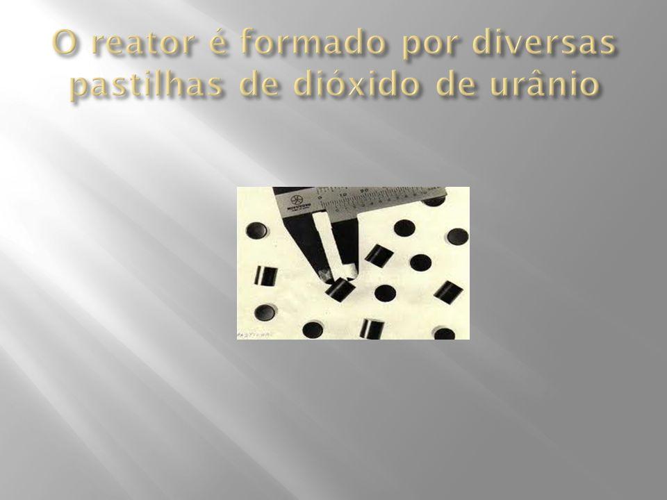 O reator é formado por diversas pastilhas de dióxido de urânio