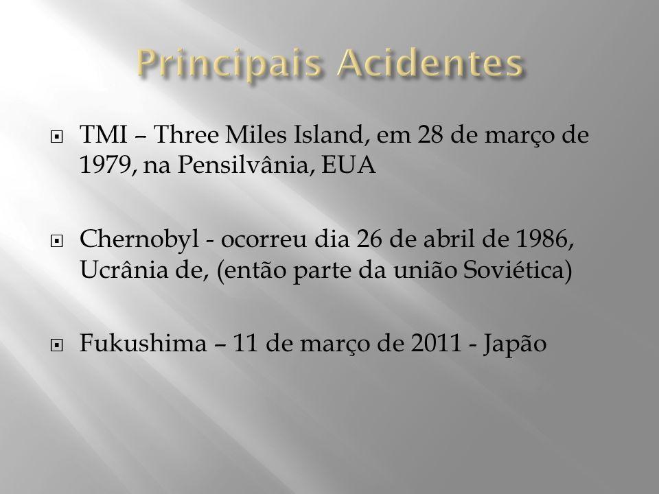 Principais Acidentes TMI – Three Miles Island, em 28 de março de 1979, na Pensilvânia, EUA.