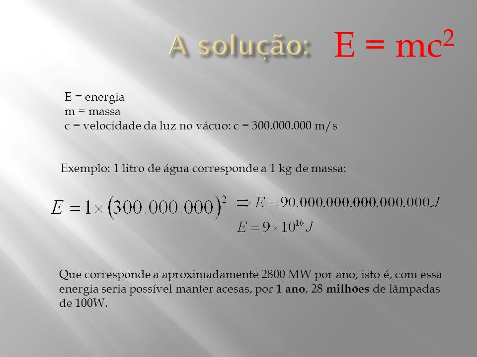 E = mc2 A solução: E = energia m = massa