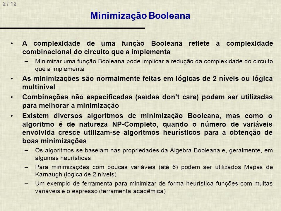 Minimização Booleana A complexidade de uma função Booleana reflete a complexidade combinacional do circuito que a implementa.
