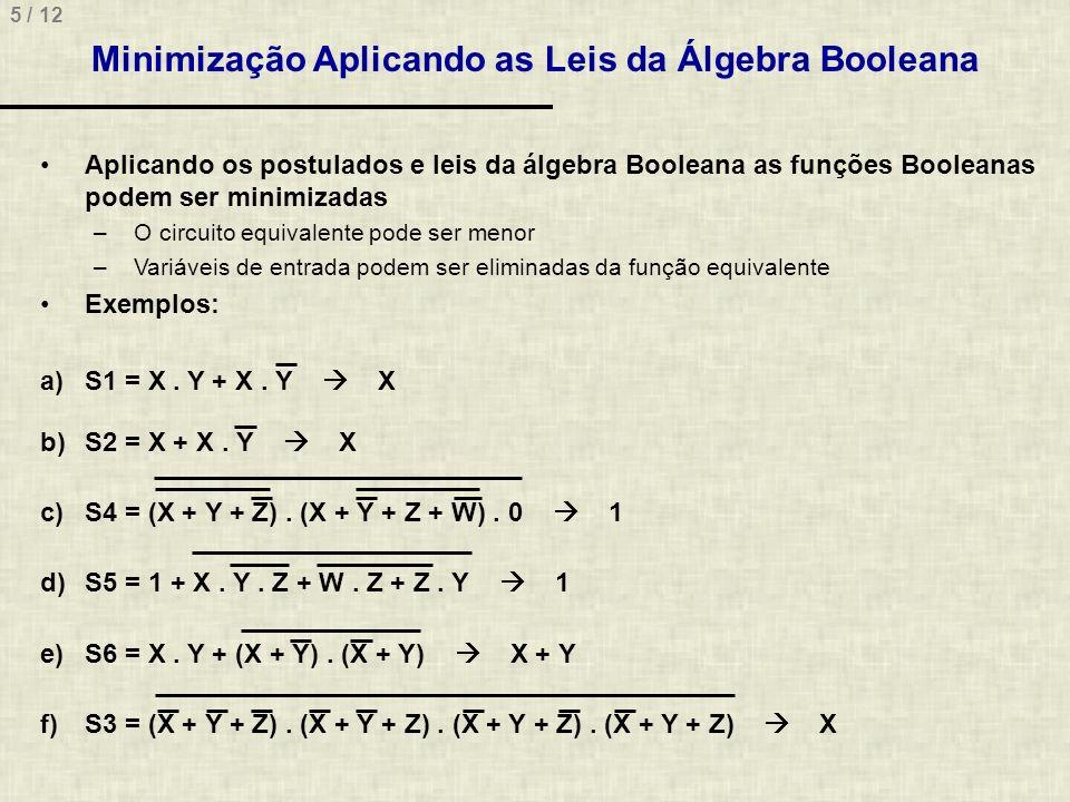 Minimização Aplicando as Leis da Álgebra Booleana