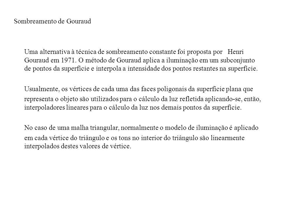 Sombreamento de Gouraud Uma alternativa à técnica de sombreamento constante foi proposta por Henri Gouraud em 1971.