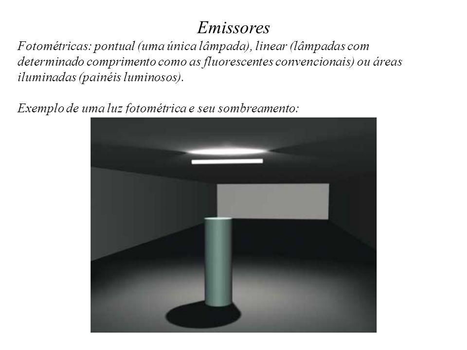 Emissores Fotométricas: pontual (uma única lâmpada), linear (lâmpadas com.