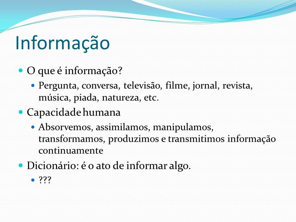 Informação O que é informação Capacidade humana