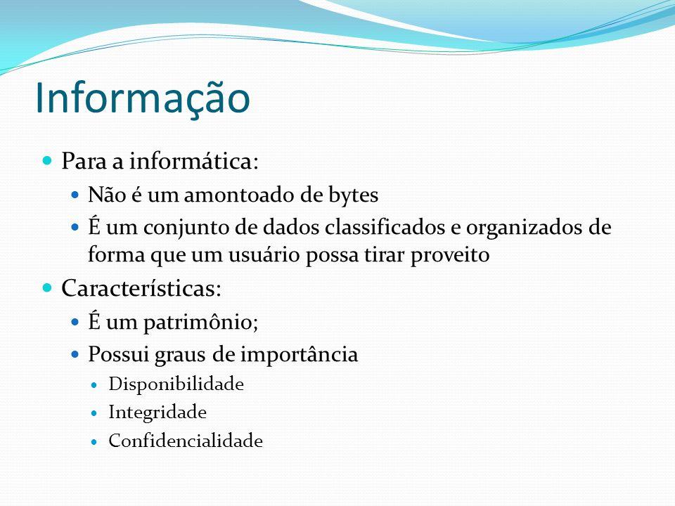 Informação Para a informática: Características: