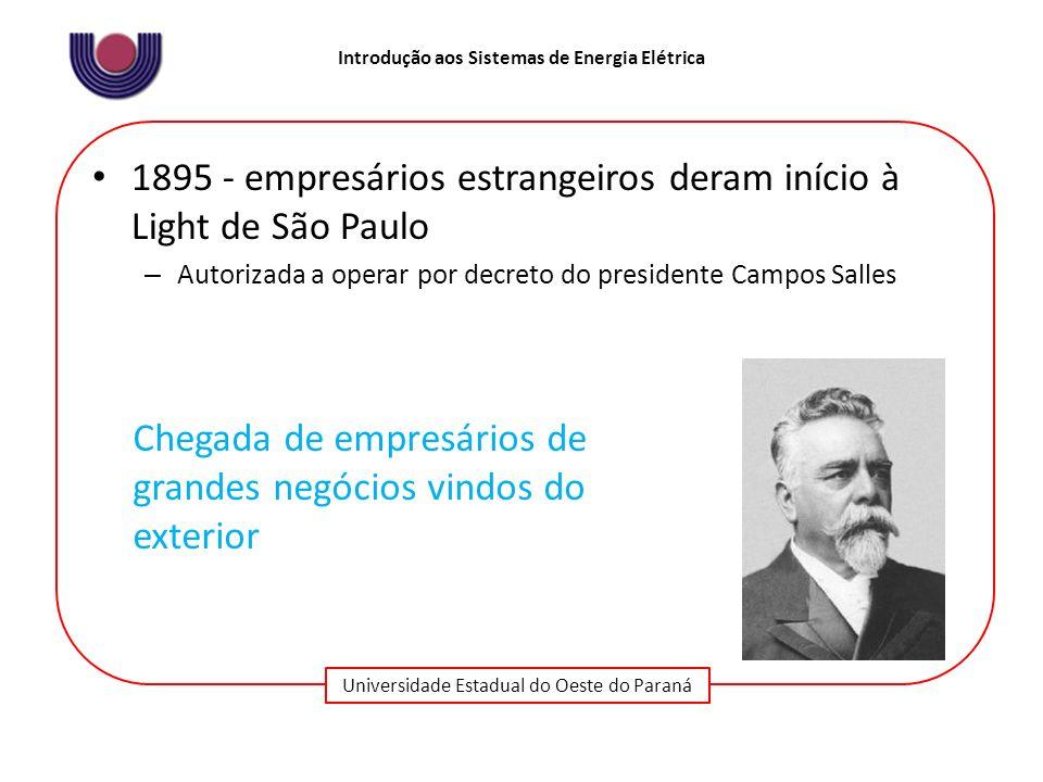 1895 - empresários estrangeiros deram início à Light de São Paulo