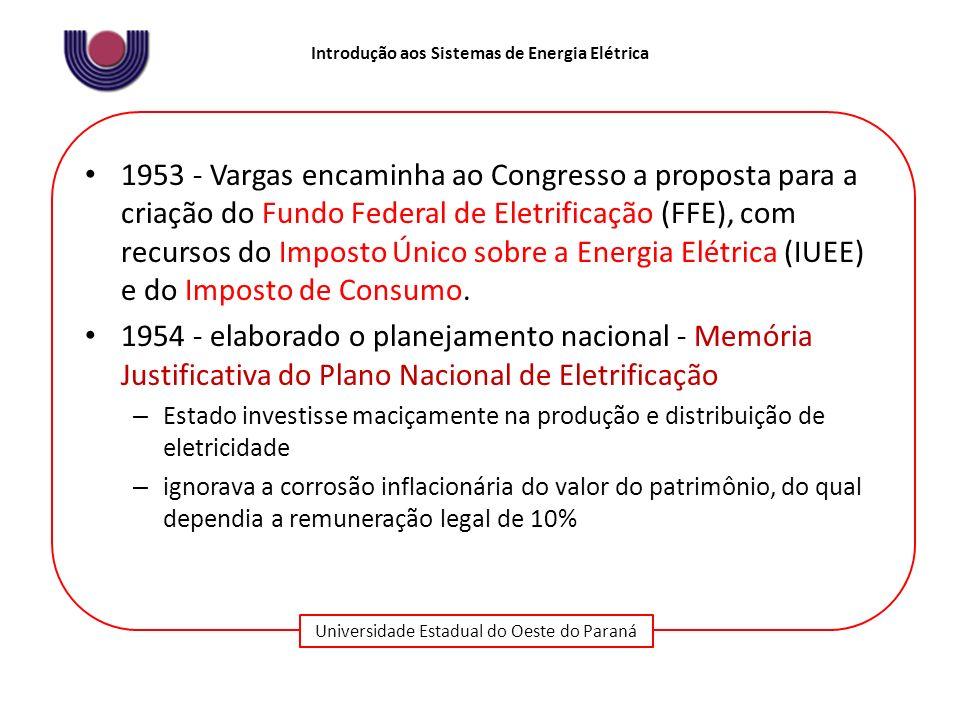 1953 - Vargas encaminha ao Congresso a proposta para a criação do Fundo Federal de Eletrificação (FFE), com recursos do Imposto Único sobre a Energia Elétrica (IUEE) e do Imposto de Consumo.