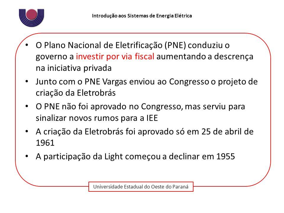 O Plano Nacional de Eletrificação (PNE) conduziu o governo a investir por via fiscal aumentando a descrença na iniciativa privada