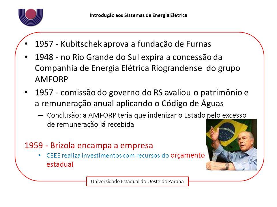 1957 - Kubitschek aprova a fundação de Furnas