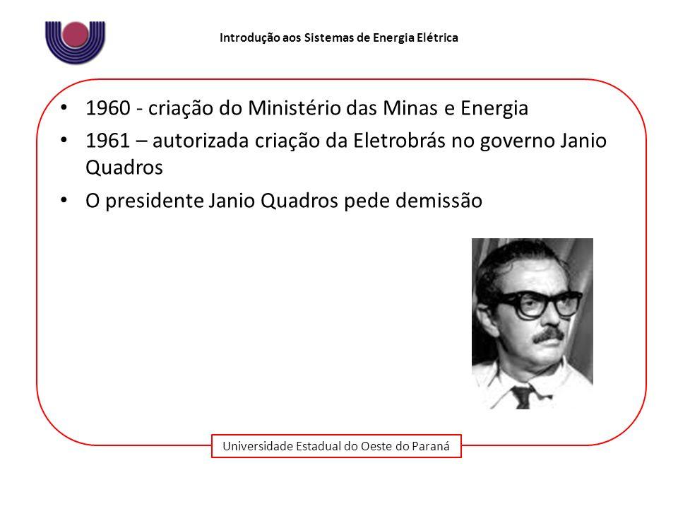 1960 - criação do Ministério das Minas e Energia