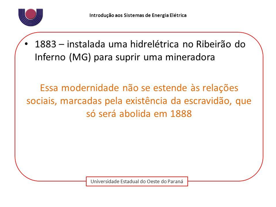 1883 – instalada uma hidrelétrica no Ribeirão do Inferno (MG) para suprir uma mineradora