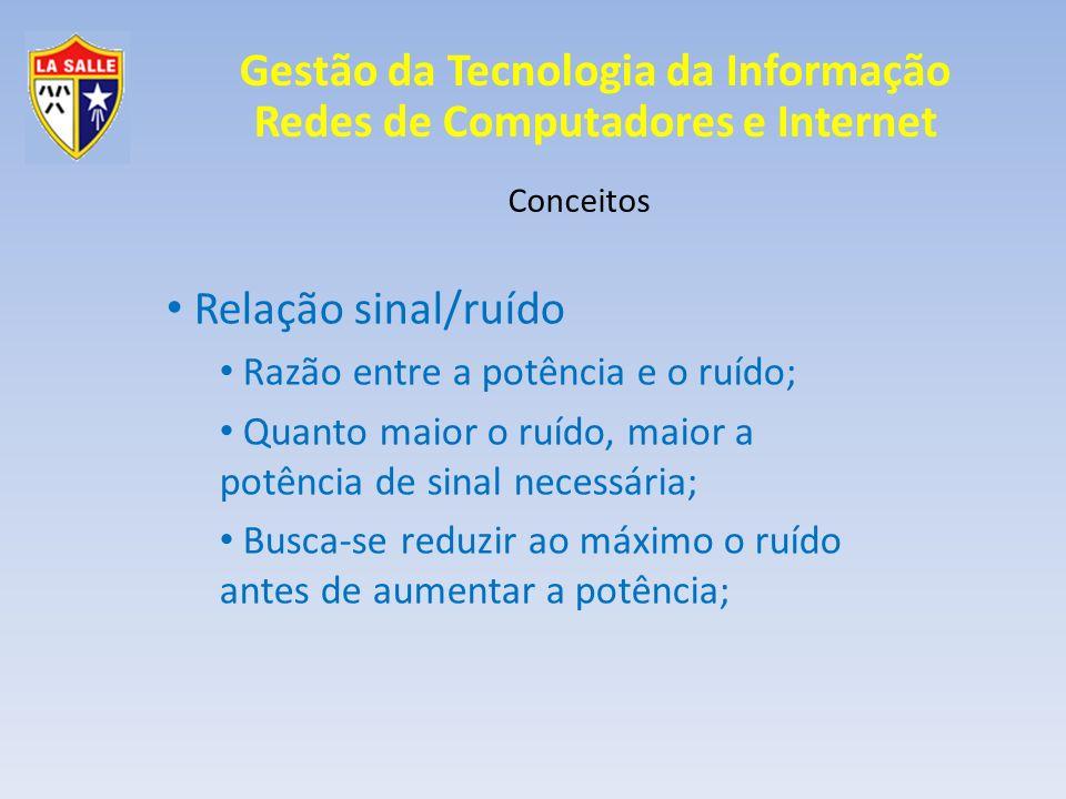 Relação sinal/ruído Razão entre a potência e o ruído;