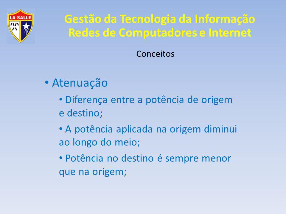 Atenuação Diferença entre a potência de origem e destino;