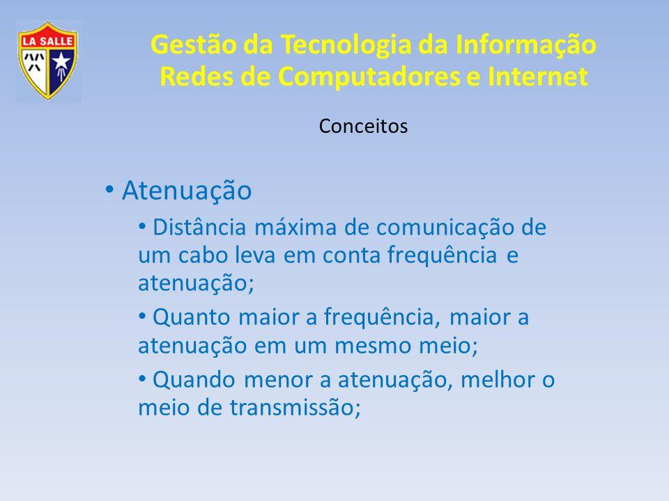 Conceitos Atenuação. Distância máxima de comunicação de um cabo leva em conta frequência e atenuação;
