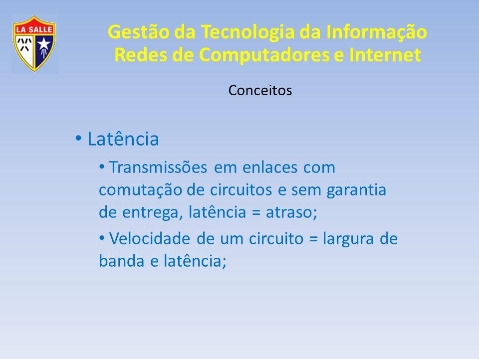 Conceitos Latência. Transmissões em enlaces com comutação de circuitos e sem garantia de entrega, latência = atraso;