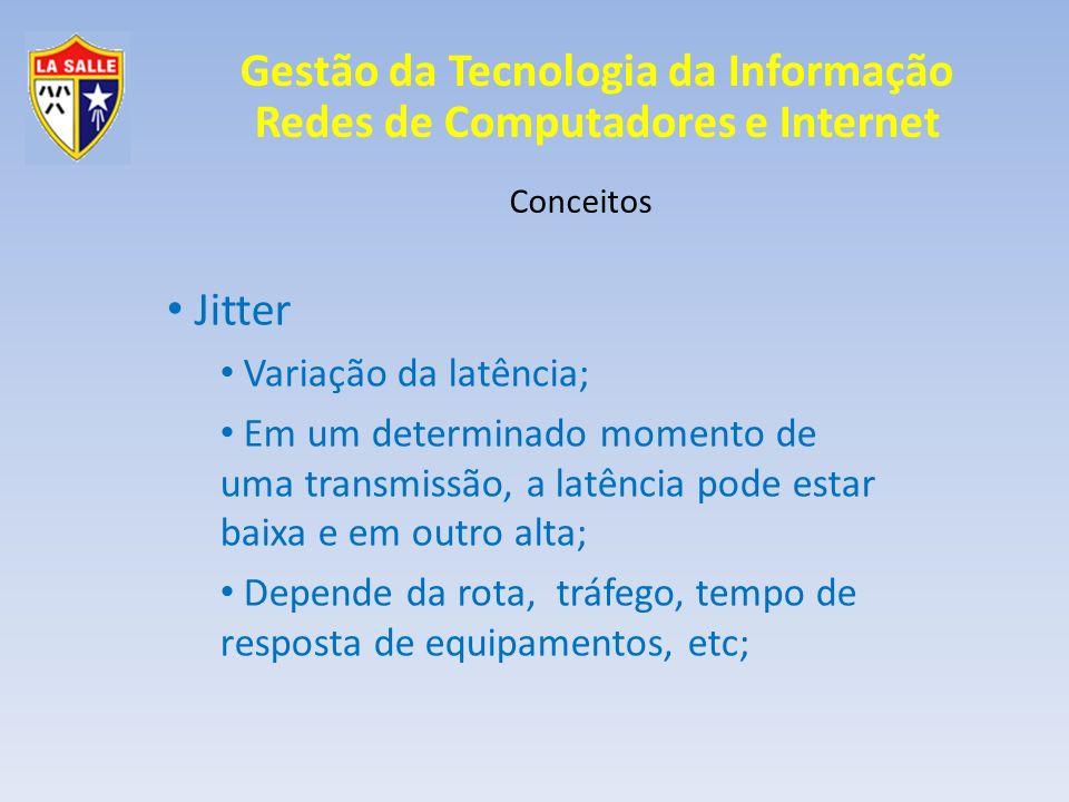 Jitter Variação da latência;