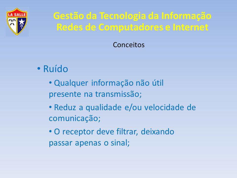 Ruído Qualquer informação não útil presente na transmissão;