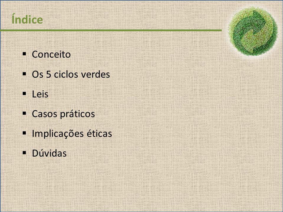 Índice Conceito Os 5 ciclos verdes Leis Casos práticos