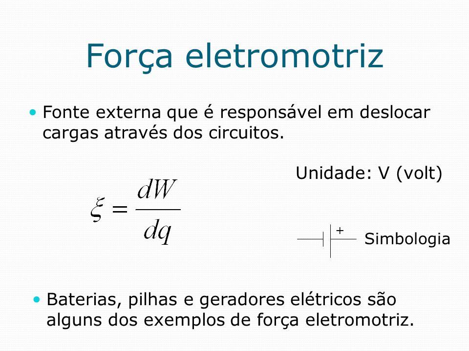 Força eletromotriz Fonte externa que é responsável em deslocar cargas através dos circuitos. Unidade: V (volt)