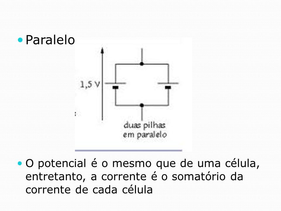 Paralelo O potencial é o mesmo que de uma célula, entretanto, a corrente é o somatório da corrente de cada célula.