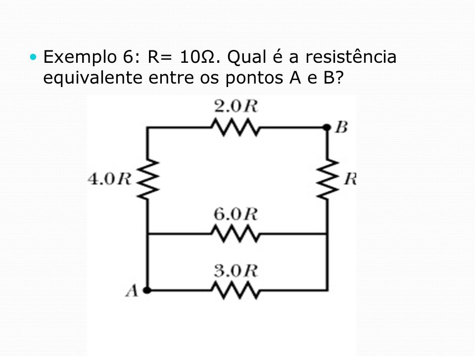 Exemplo 6: R= 10Ω. Qual é a resistência equivalente entre os pontos A e B