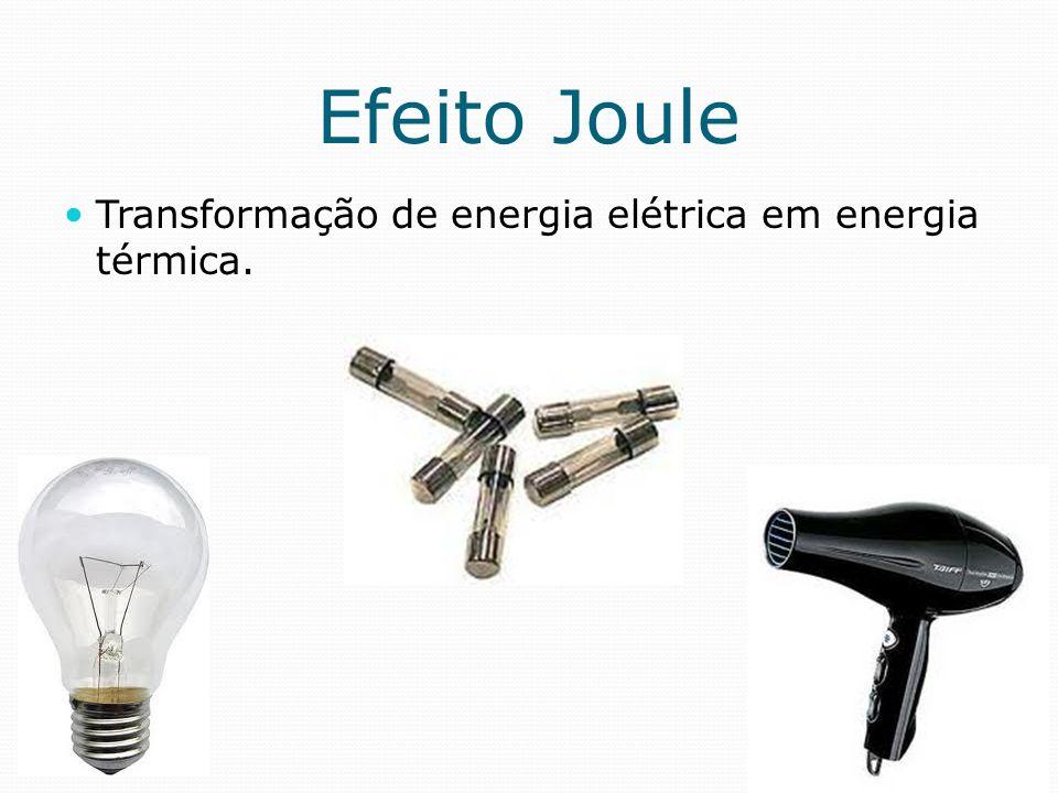 Efeito Joule Transformação de energia elétrica em energia térmica.