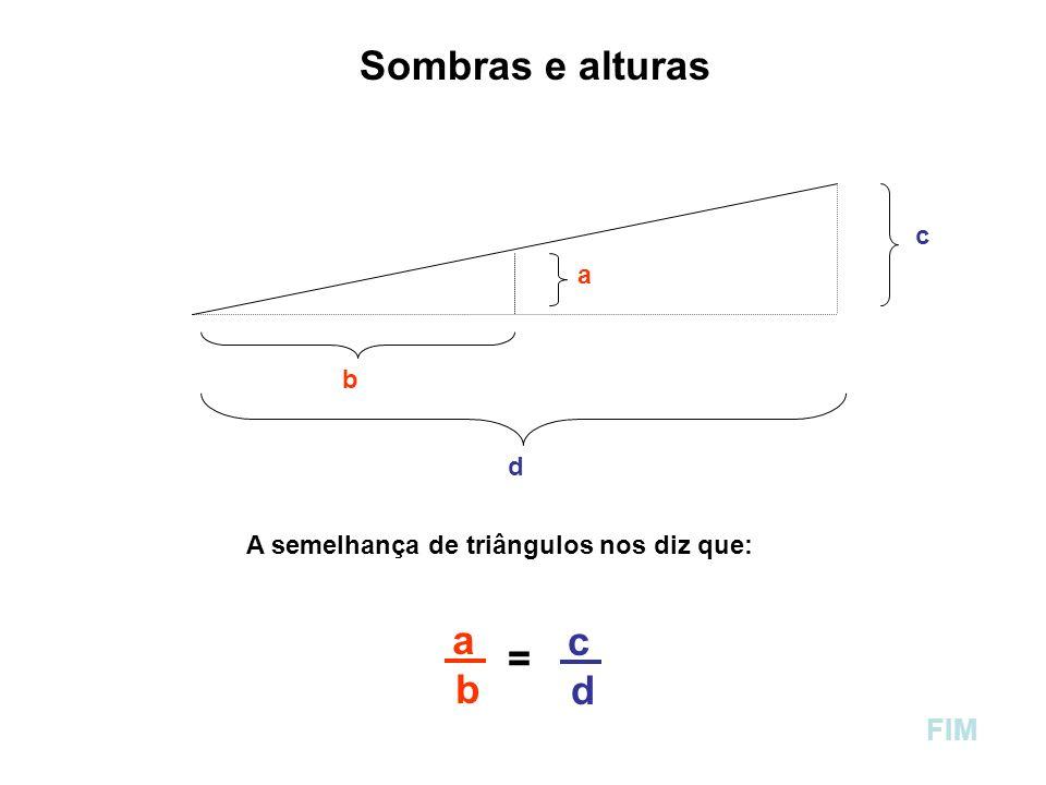 Sombras e alturas = b d FIM c a b d