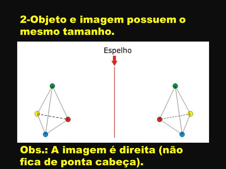 2-Objeto e imagem possuem o mesmo tamanho.