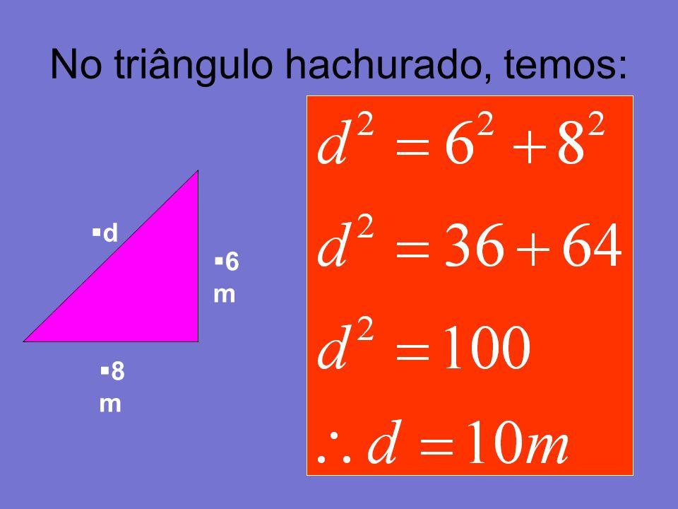 No triângulo hachurado, temos: