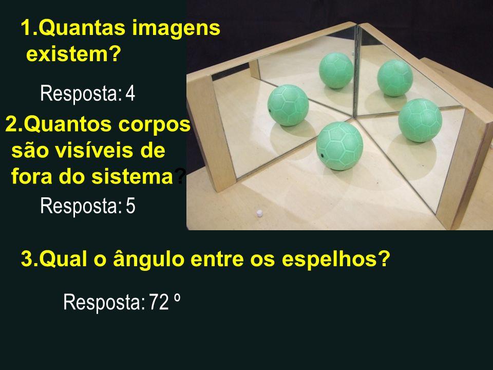 1.Quantas imagens existem Resposta: 4. 2.Quantos corpos. são visíveis de. fora do sistema Resposta: 5.