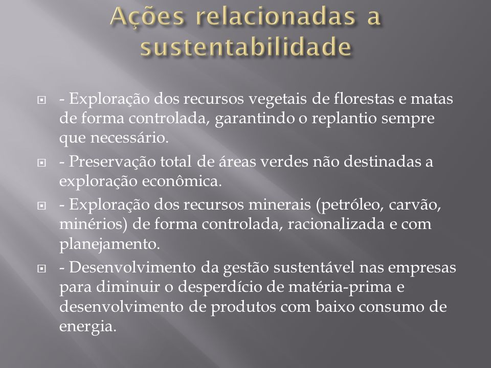 Ações relacionadas a sustentabilidade