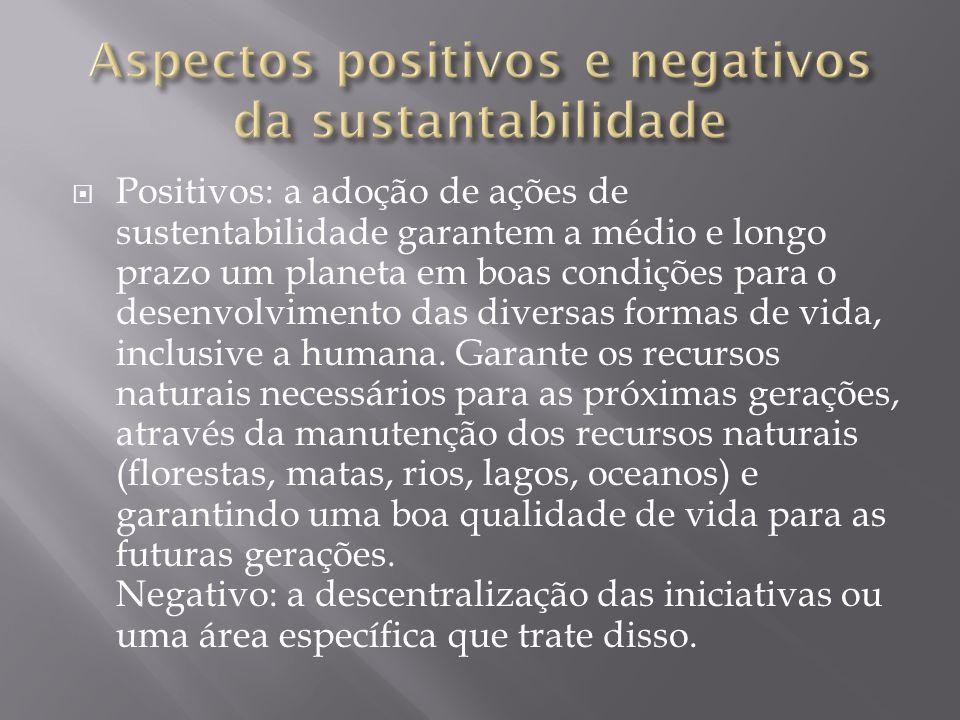 Aspectos positivos e negativos da sustantabilidade