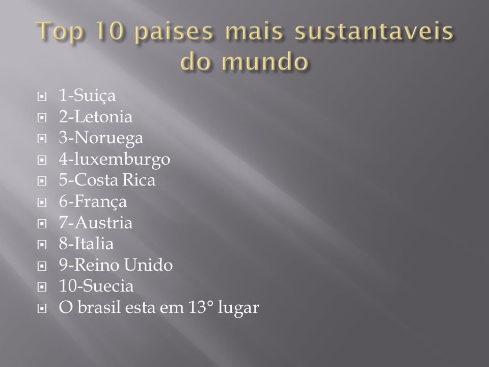 Top 10 paises mais sustantaveis do mundo