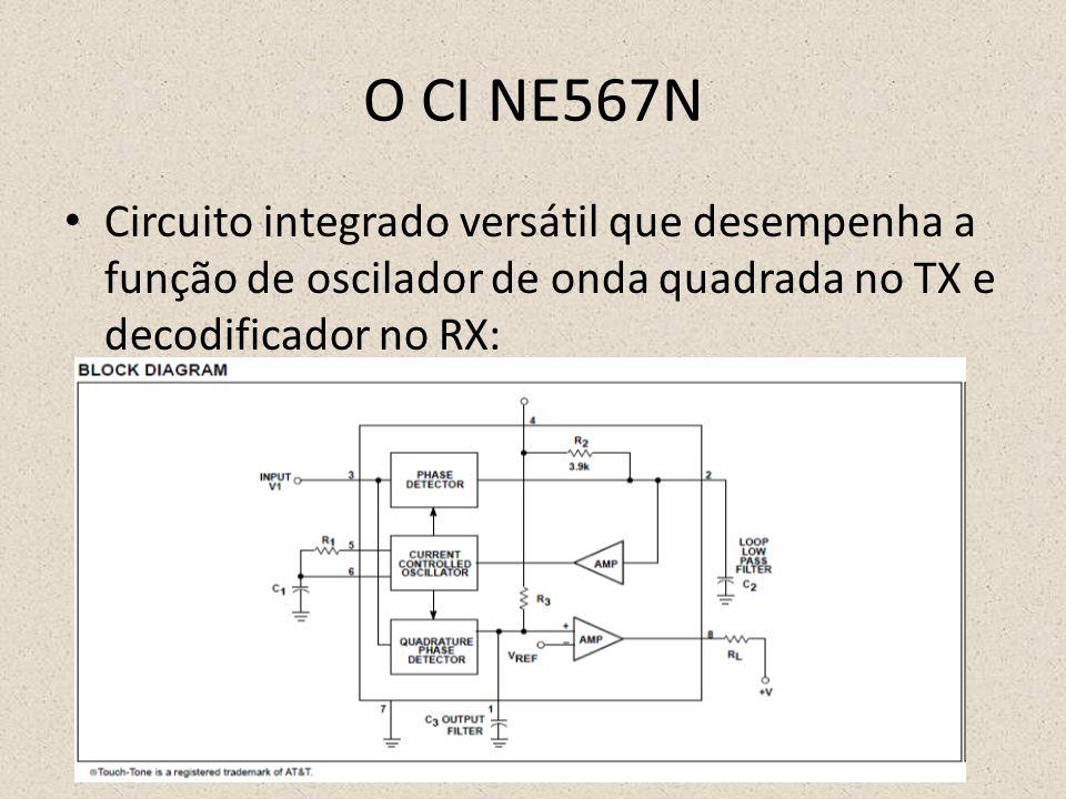 O CI NE567N Circuito integrado versátil que desempenha a função de oscilador de onda quadrada no TX e decodificador no RX: