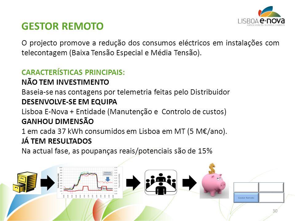 Gestor remoto O projecto promove a redução dos consumos eléctricos em instalações com telecontagem (Baixa Tensão Especial e Média Tensão).
