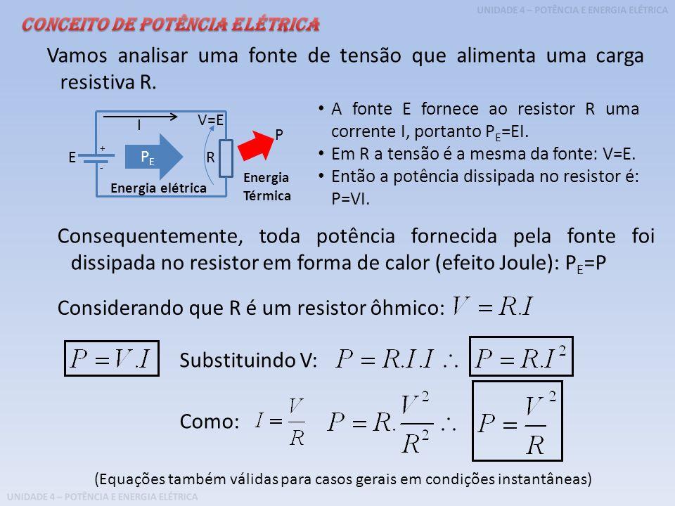 Vamos analisar uma fonte de tensão que alimenta uma carga resistiva R.