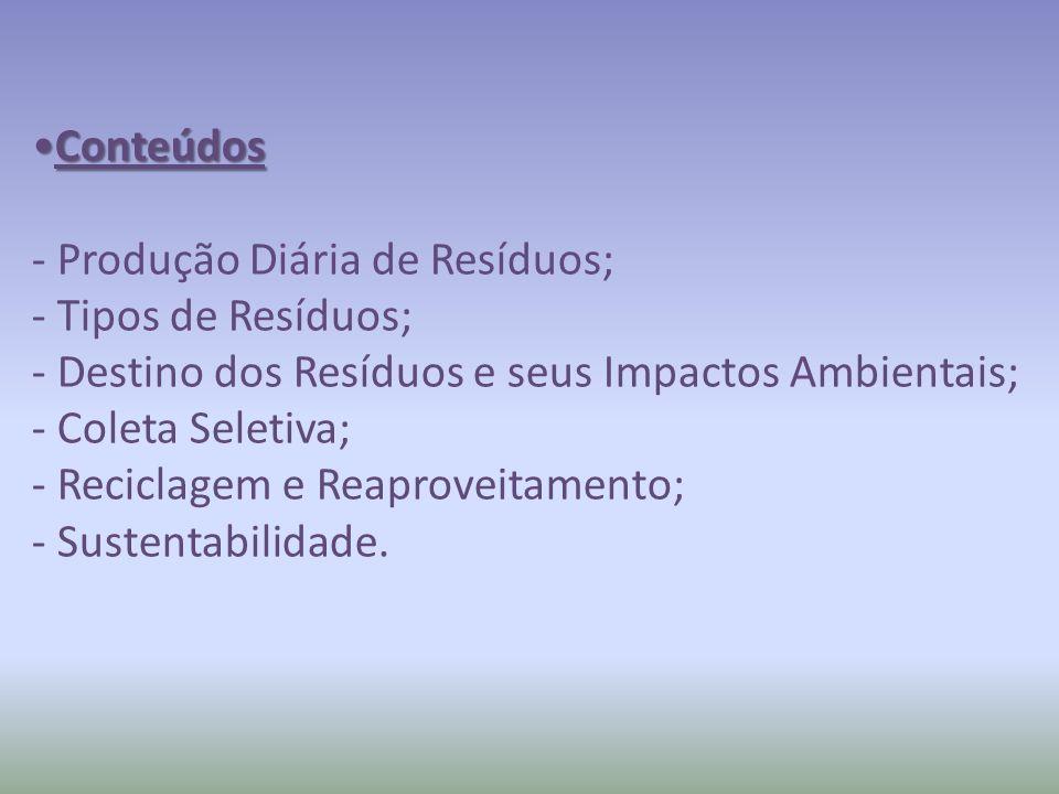 Conteúdos - Produção Diária de Resíduos; - Tipos de Resíduos; - Destino dos Resíduos e seus Impactos Ambientais;