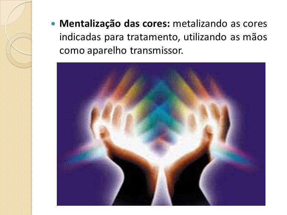 Mentalização das cores: metalizando as cores indicadas para tratamento, utilizando as mãos como aparelho transmissor.