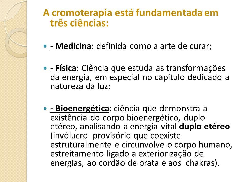 A cromoterapia está fundamentada em três ciências: