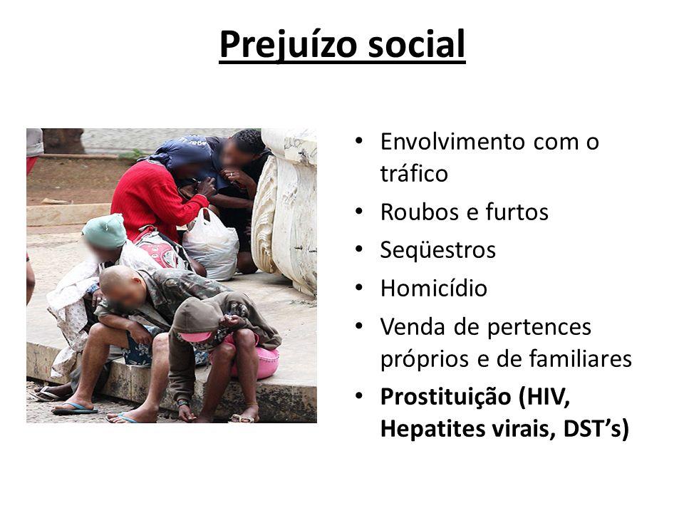 Prejuízo social Envolvimento com o tráfico Roubos e furtos Seqüestros
