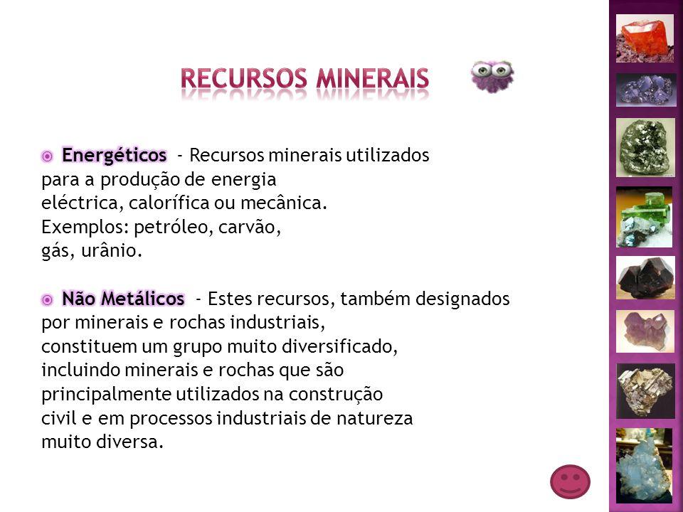 Recursos Minerais Energéticos - Recursos minerais utilizados