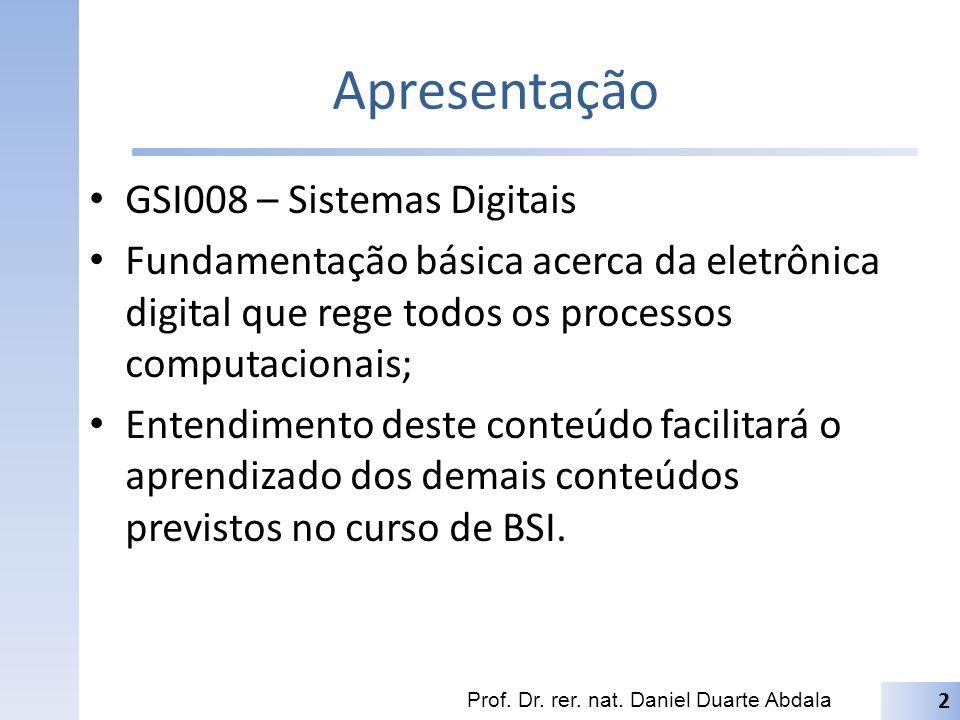 Apresentação GSI008 – Sistemas Digitais