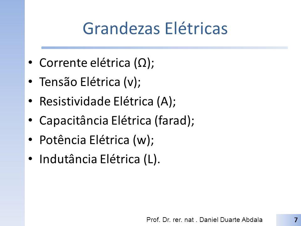 Grandezas Elétricas Corrente elétrica (Ω); Tensão Elétrica (v);