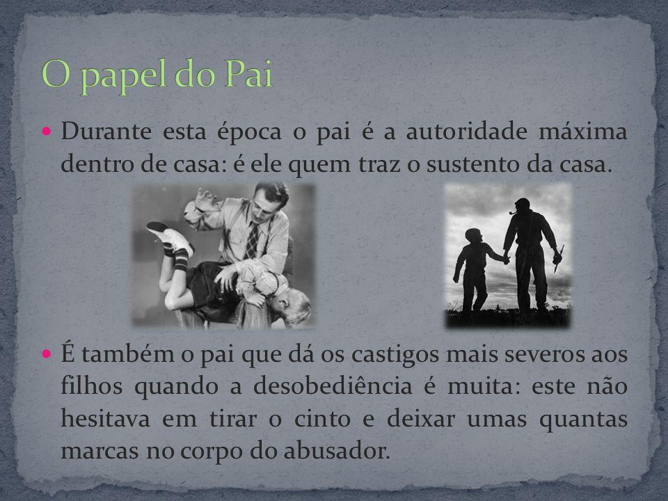 O papel do Pai Durante esta época o pai é a autoridade máxima dentro de casa: é ele quem traz o sustento da casa.