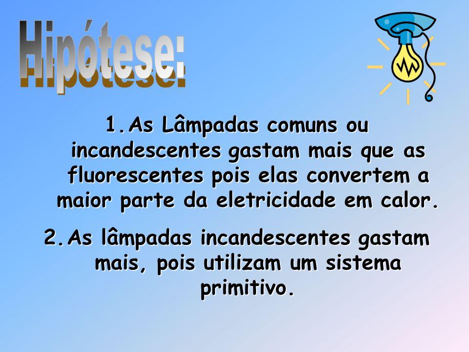 Hipótese: As Lâmpadas comuns ou incandescentes gastam mais que as fluorescentes pois elas convertem a maior parte da eletricidade em calor.
