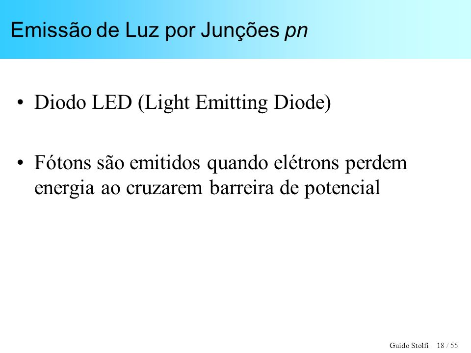 Emissão de Luz por Junções pn