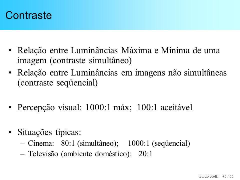 Contraste Relação entre Luminâncias Máxima e Mínima de uma imagem (contraste simultâneo)