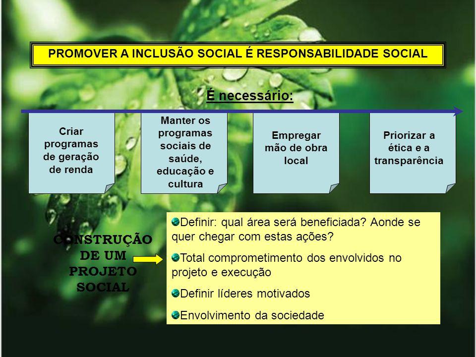 CONSTRUÇÃO DE UM PROJETO SOCIAL