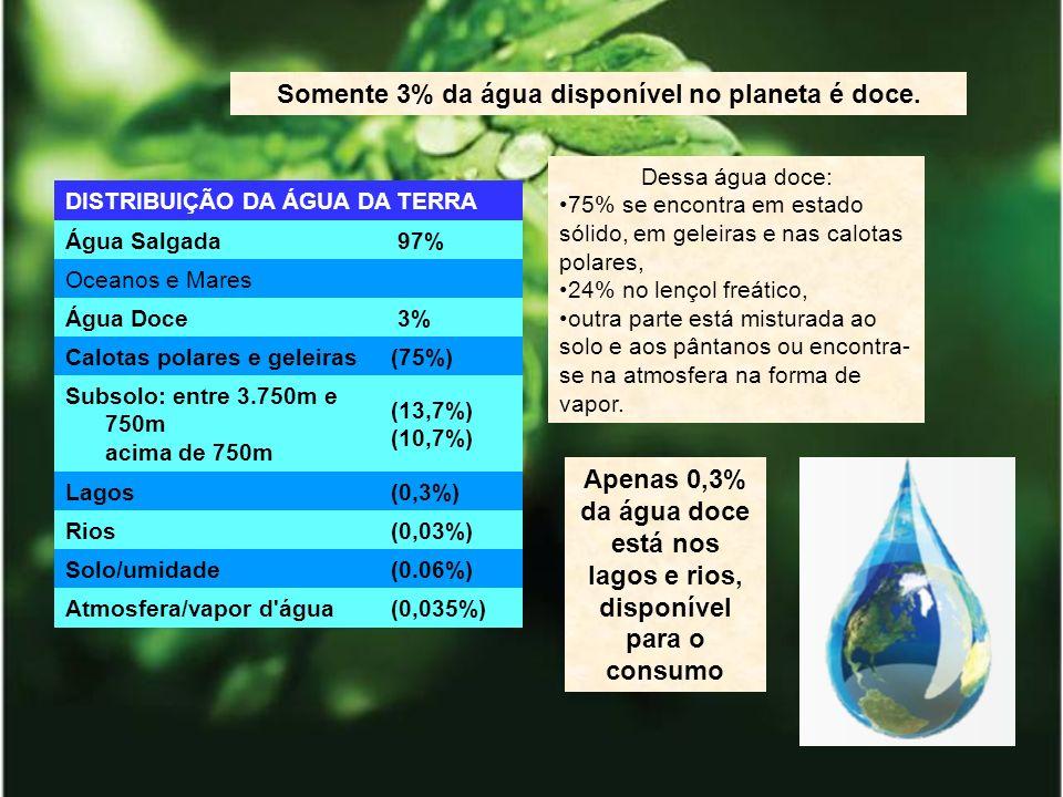 Somente 3% da água disponível no planeta é doce.
